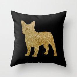 Golden Frenchie on black Throw Pillow
