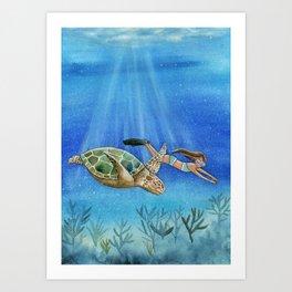 Turtle and girl Art Print