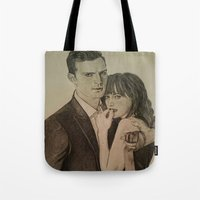 allyson johnson Tote Bags featuring JAMIE DORNAN - DAKOTA JOHNSON by Virginieferreux