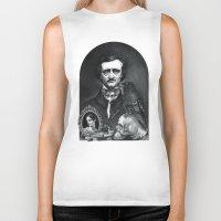 edgar allan poe Biker Tanks featuring Edgar Allan Poe Portrait by Eeriette