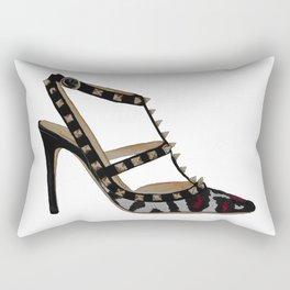 Leopard Valentino Rockstud pumps fashion illustration pink  Rectangular Pillow
