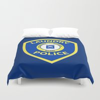 police Duvet Covers featuring Laundry Police by Julie Luke