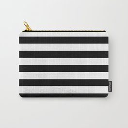 Midnight Black and White Stripes Carry-All Pouch