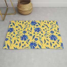 Elegant Blue Cone Flowers on Mustard Yellow Rug