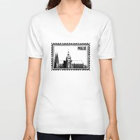 prague V-neck T-shirts featuring Prague castle by siloto