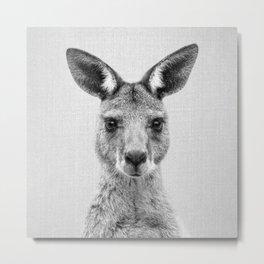 Kangaroo 2 - Black & White Metal Print