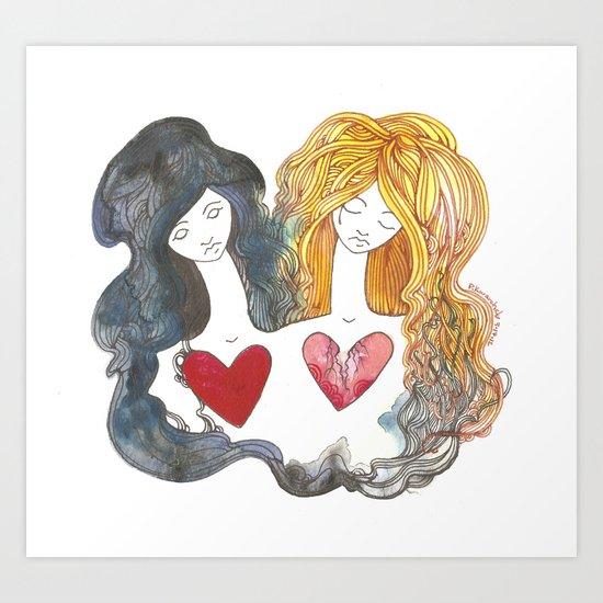 Ligeia and Rowena Art Print