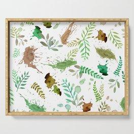 Green Leaves, Paint Splatter, Pattern Serving Tray