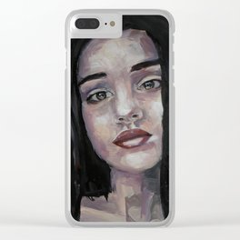 Portrait of beautiful girl, face, original art, oilpainting Clear iPhone Case