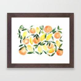 Sicilian orchard: lemons and oranges in watercolor, summer citrus Framed Art Print