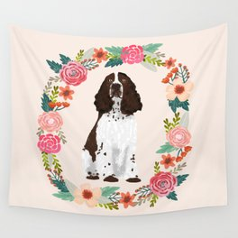 english springer spaniel dog floral wreath dog gifts pet portraits Wall Tapestry