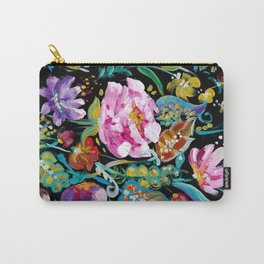 Colorful floral abstraction #1 acrylic painting flowers on a black background Carry-All Pouch