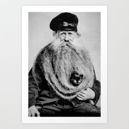 Kitten in the Beard of Old Man black and white photograph Art Print