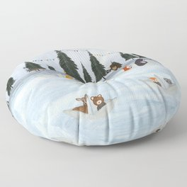 the great paper boat race Floor Pillow
