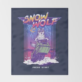 Snow Wolf Throw Blanket