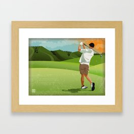 Mountain Golfer Framed Art Print
