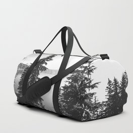 Mountain Lake Forest Black and White Nature Photography Duffle Bag