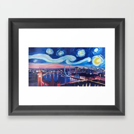 Starry Night in London - Van Gogh Inspirations with Big Ben and London Eye Framed Art Print