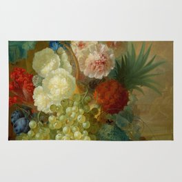 """Jan van Os """"Still life of peonies, a cock's comb and morning glories"""" Rug"""