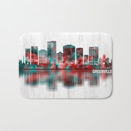 Greenville South Carolina Skyline Bath Mat