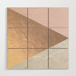 Geo tri - rose gold & concrete Wood Wall Art