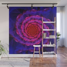 Ascension of a Vermilion Rose Fractal Spiral Bloom Wall Mural