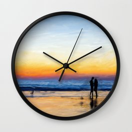 couple painting at sunset,Silhouette Couple Painting,Red Orange Yellow Sunset Wall Clock