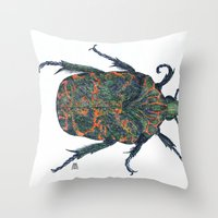 beetle Throw Pillows featuring Beetle by MSRomeiro
