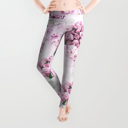 ORCHIDS ROSES MAGNOLIAS and Dragonflies Leggings