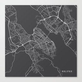 Halifax Map, Canada - Gray Canvas Print
