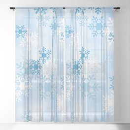 Blue White Winter Snowflakes Design Sheer Curtain