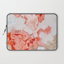 coral pink beige white marbled abstract digital art Laptop Sleeve
