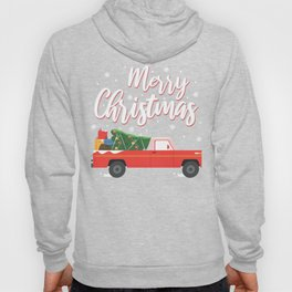 Merry Christmas I Vintage Red Truck And X-Mas Tree Hoody