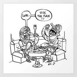 the ultimate joke - black & white Art Print