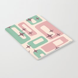 Retro Mid Century Modern Abstract Pattern 222 Dusty Rose and Pastel Green Notebook
