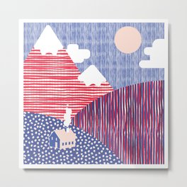 House in the Hills Pink & Blue Metal Print