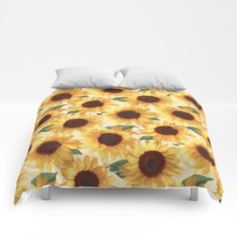 Happy Yellow Sunflowers Comforters