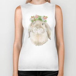 Lop Rabbit Floral Wreath Watercolor Painting Biker Tank