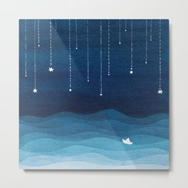 Falling stars, blue, sailboat, ocean Metal Print