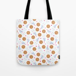 Happy Milk and Cookies Pattern Tote Bag
