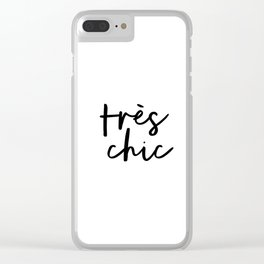 Tres Chic black and white monochrome typography poster design home wall bedroom decor canvas Clear iPhone Case