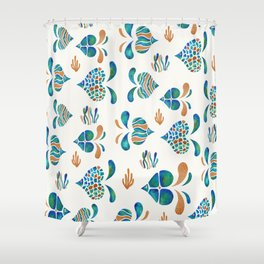 Cute abstract fish with metallic copper accents Shower Curtain