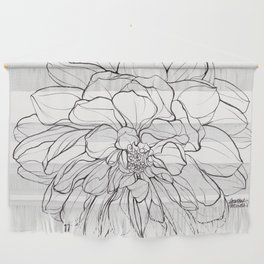 Ink Illustration of a Dahlia Wall Hanging