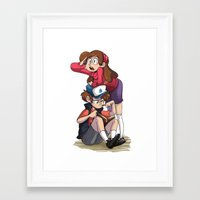gravity falls Framed Art Prints featuring Gravity Falls by elixiroverdose