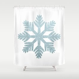Blue Glitter Snowflake Shower Curtain