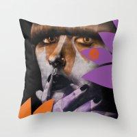 """karen Throw Pillows featuring """"Karen O"""" by Samy Vincent"""