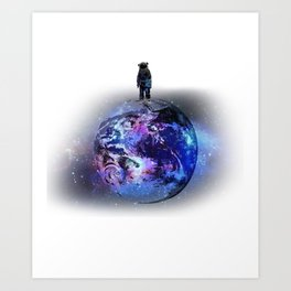 Earth Astronaut Planet Aeronautics Rocket Science Space Art Print