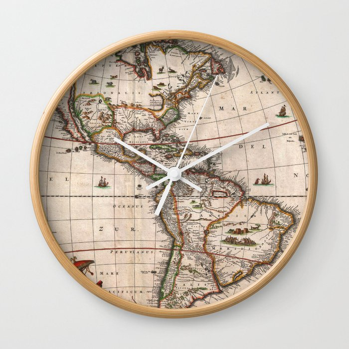 1658 Map of North America and South America with 2015 enhancements Wall Clock