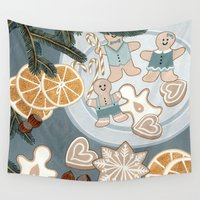 cookies Wall Tapestries featuring Gingerbread Men Cookies by Yuliya