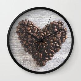 Coffee beans heart Wall Clock
